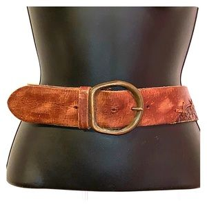 A&F Tooled Genuine Leather Wide Brown Belt